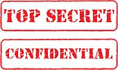 Rubber stamps top secret and confidential vector