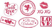Rubber stamps Valentine's Day