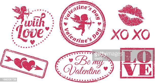 gummi-briefmarken valentine's day - cupidon stock-grafiken, -clipart, -cartoons und -symbole