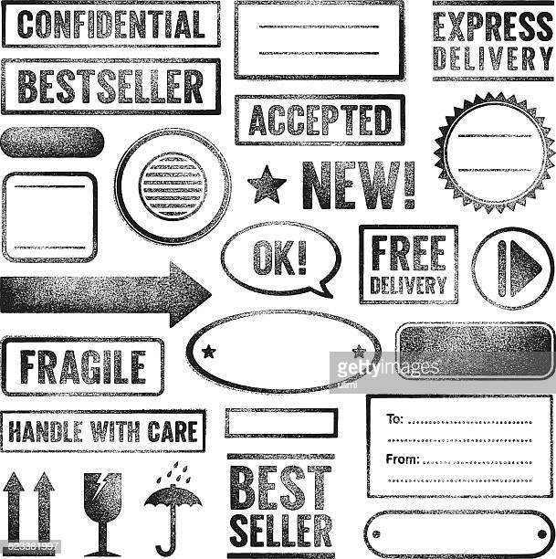 rubber stamps - fragile sign stock illustrations