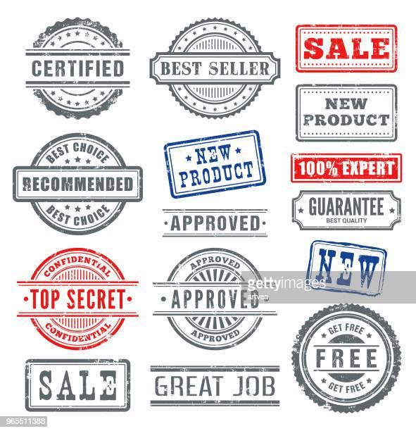 ilustraciones, imágenes clip art, dibujos animados e iconos de stock de sellos de goma  - calidad