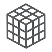Rubik cube line icon, puzzle and olap, square sign, vector graphics, a linear pattern on a white background, eps 10.