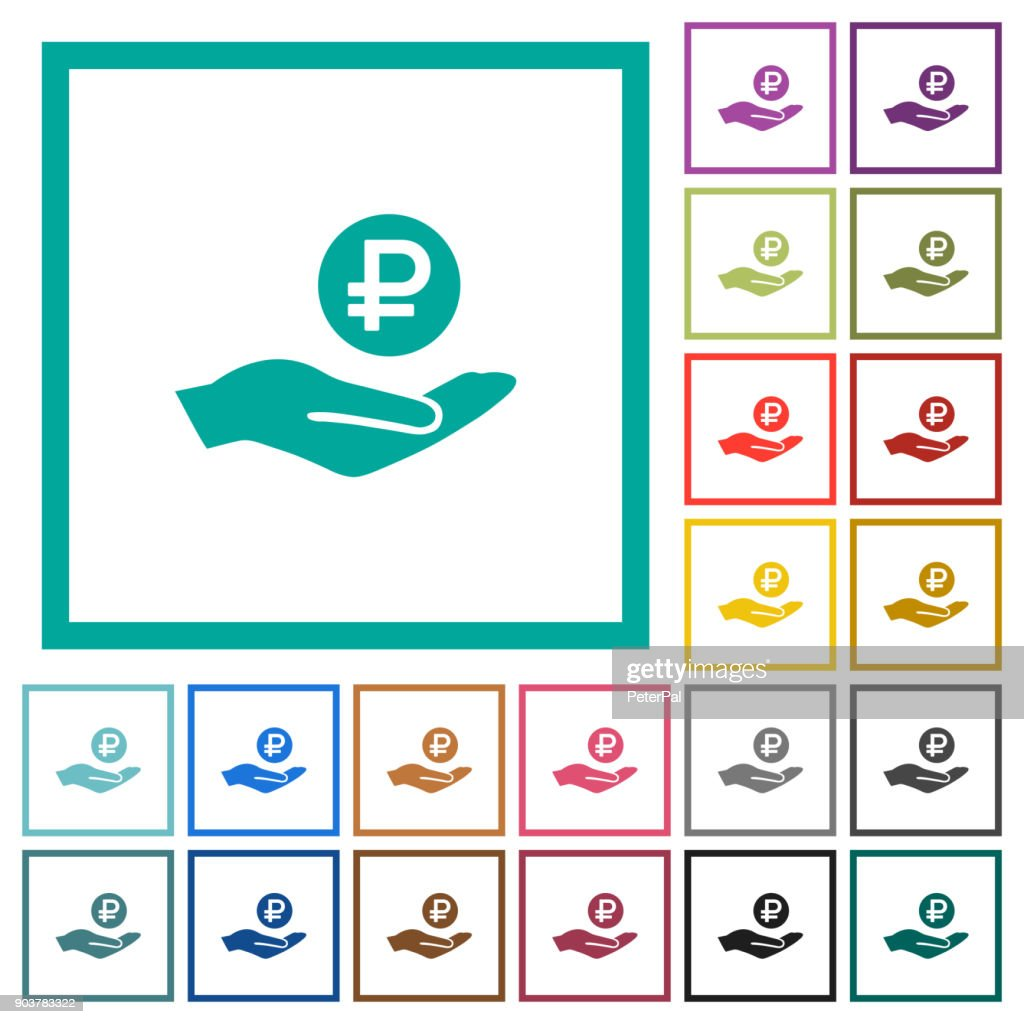 Ruble earnings flat color icons with quadrant frames