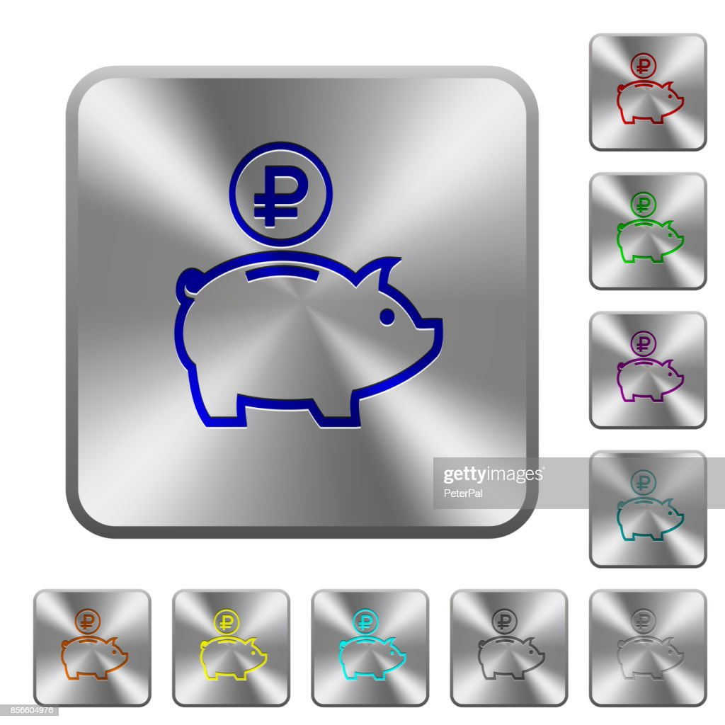 Ruble piggy bank rounded square steel buttons