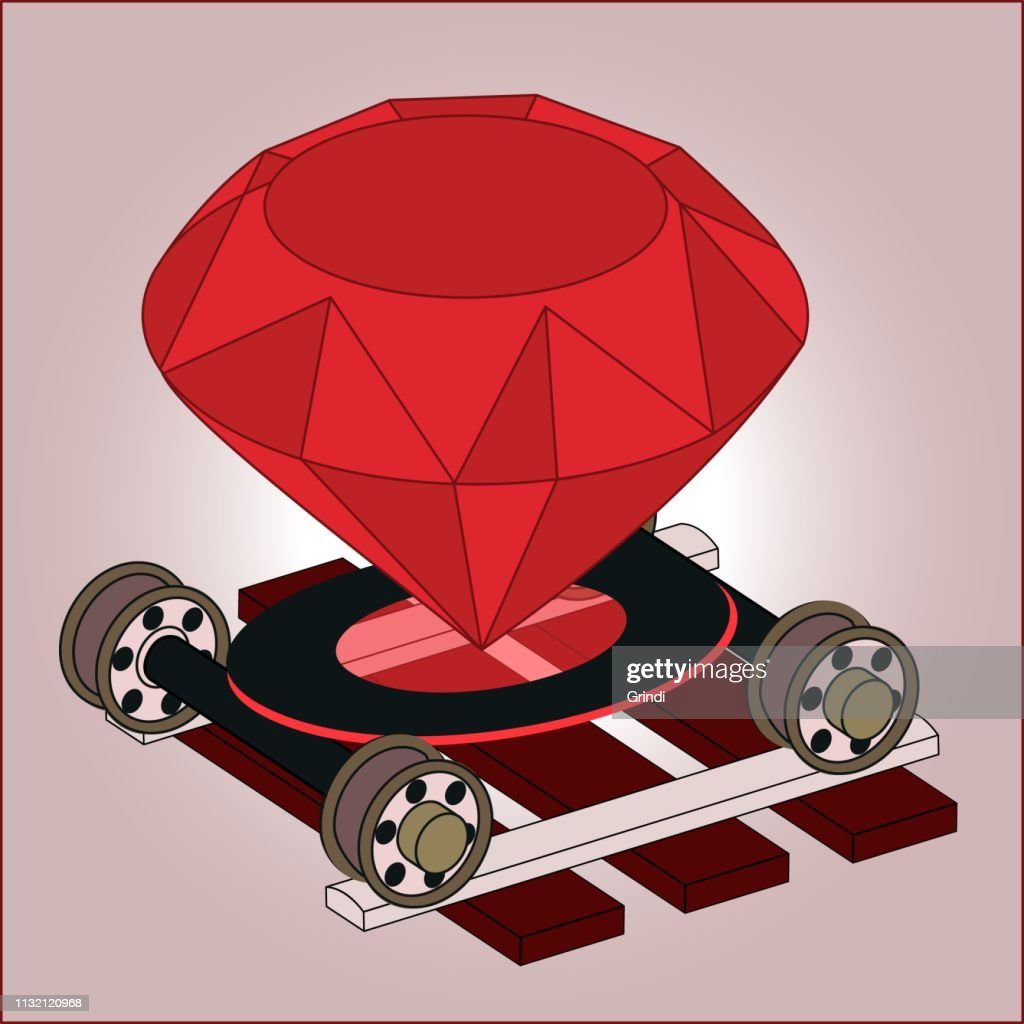 Ruby on rails full color isometric 3D art. Real jewel gem on wheel pairs on ties. Programming language framework for web backend server software development. RoR symbol logo of www internet graphic