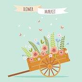 Rudtic flower wheelbarrow vector illustration