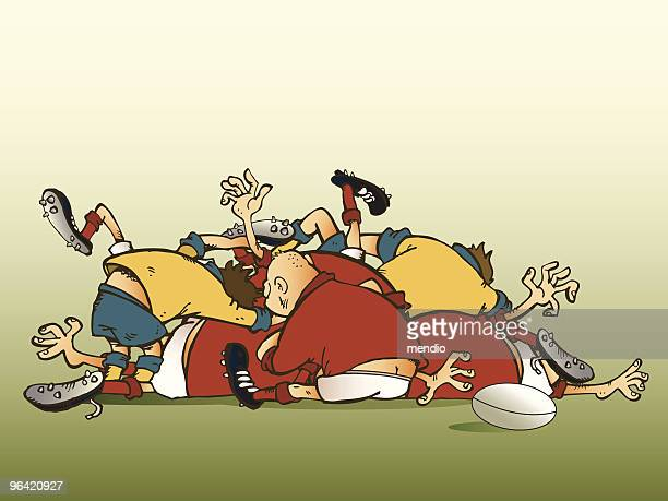 Rugbiers in a broken scrum trying to find the ball