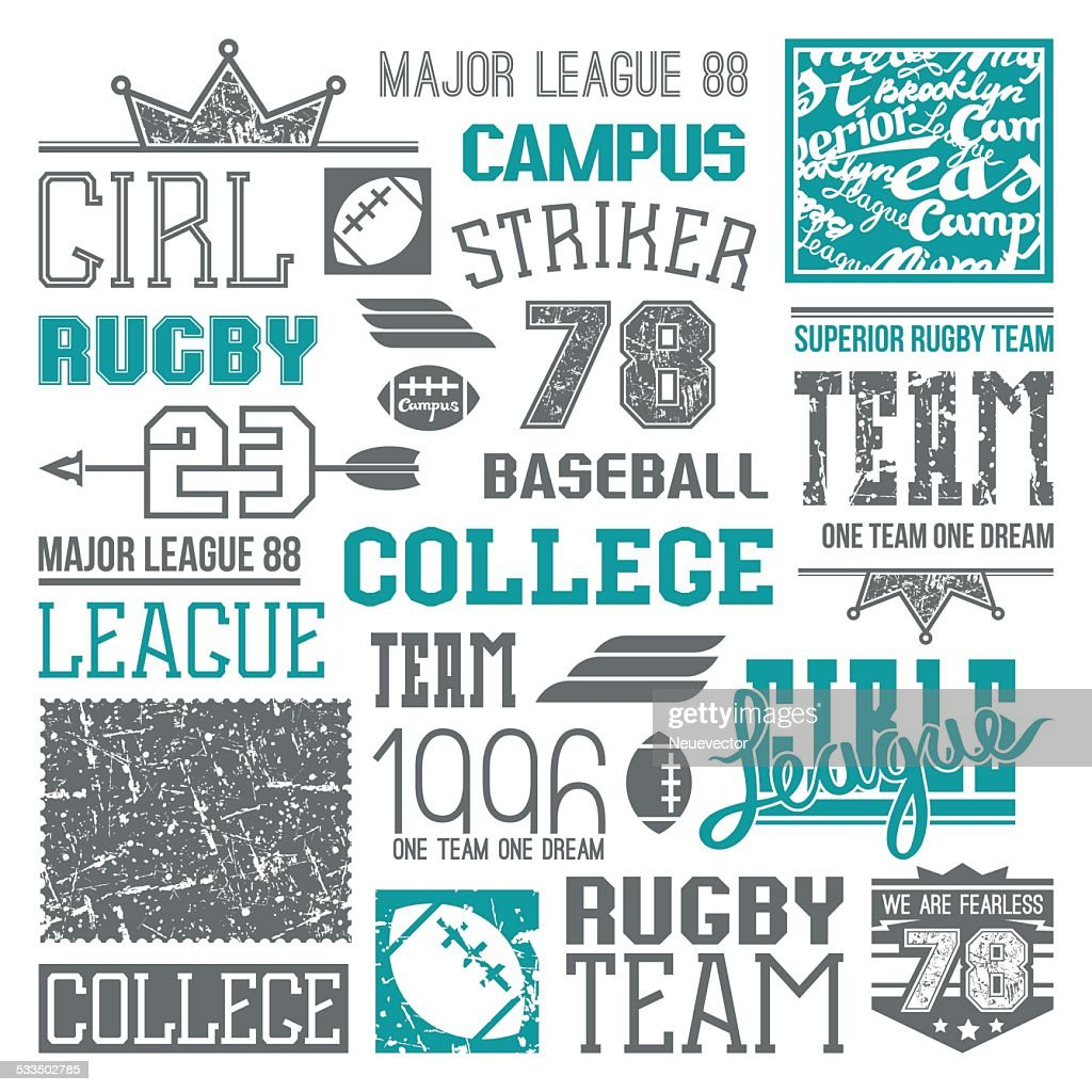 Rugby and baseball team college design elements