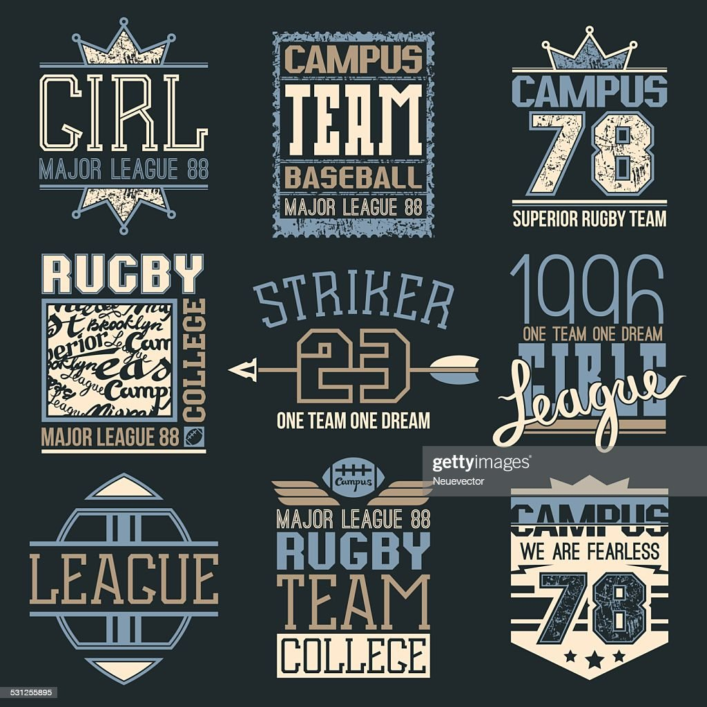 Rugby and baseball team college emblems