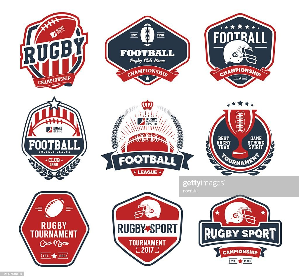 Rugby badges vector set