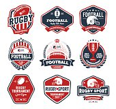Rugby badges vector set