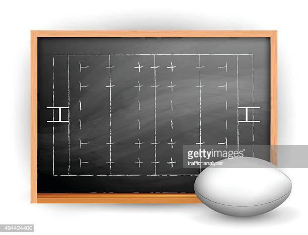 rugby ball and blackboard - rugby ball stock illustrations, clip art, cartoons, & icons