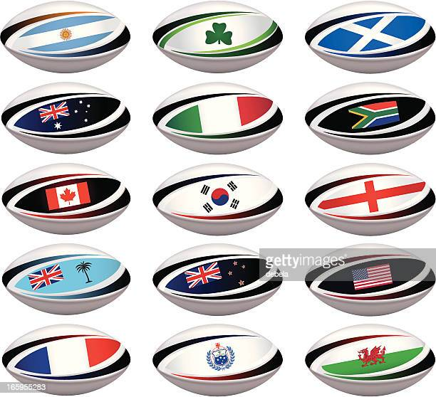 rugby ball collection - rugby ball stock illustrations, clip art, cartoons, & icons