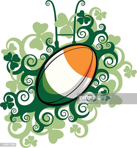 rugby ball emblem ireland - rugby ball stock illustrations, clip art, cartoons, & icons