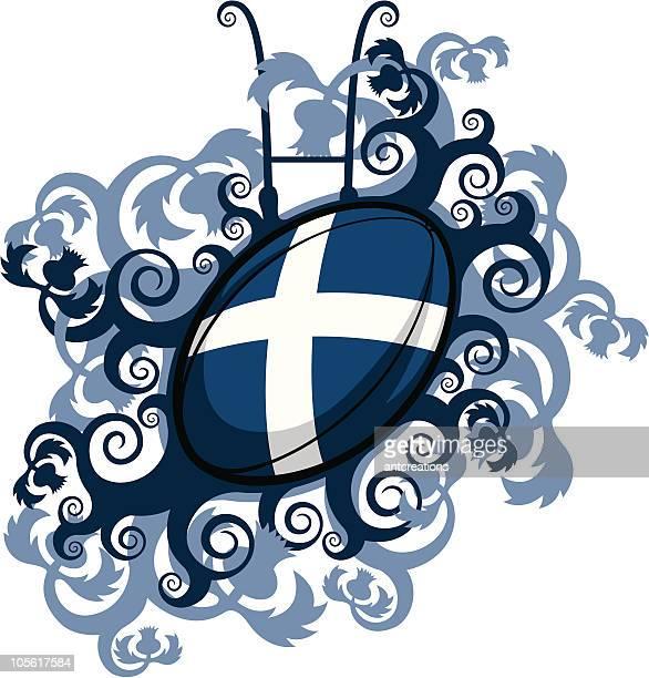 rugby ball emblem scotland - thistle stock illustrations, clip art, cartoons, & icons