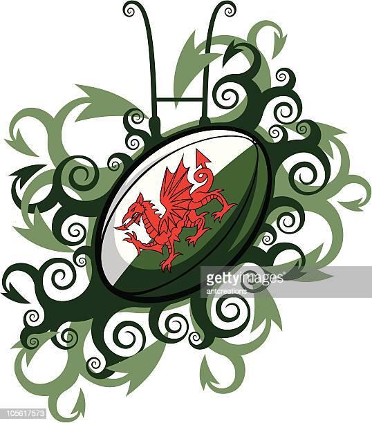 illustrations, cliparts, dessins animés et icônes de emblème ballon de rugby du pays de galles - pays de galles