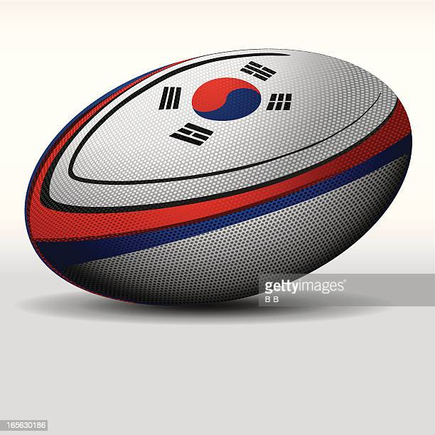 rugby ball-korea - rugby ball stock illustrations, clip art, cartoons, & icons