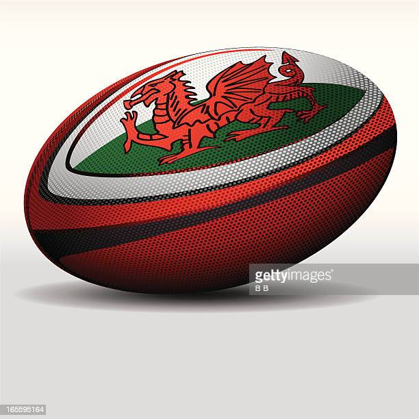 rugby ball-wales - rugby ball stock illustrations, clip art, cartoons, & icons