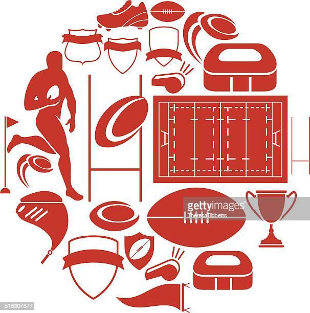rugby icon set - rugby ball stock illustrations, clip art, cartoons, & icons