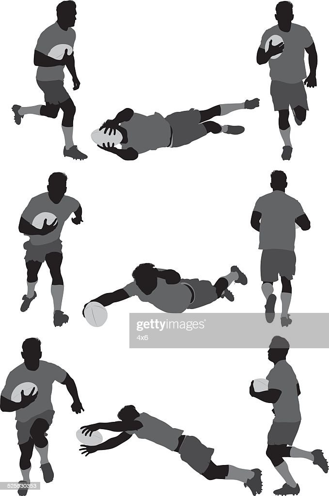 Rugby player in various actions