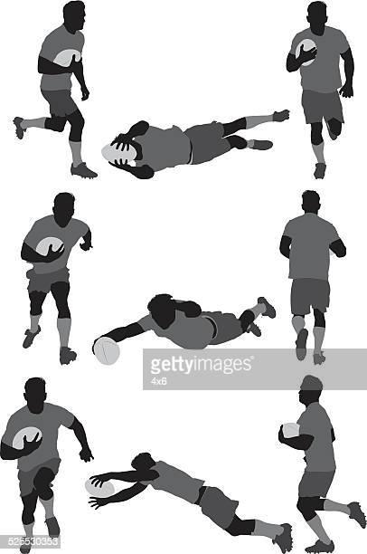 ilustraciones, imágenes clip art, dibujos animados e iconos de stock de jugador de rugby en diversas acciones - deportista