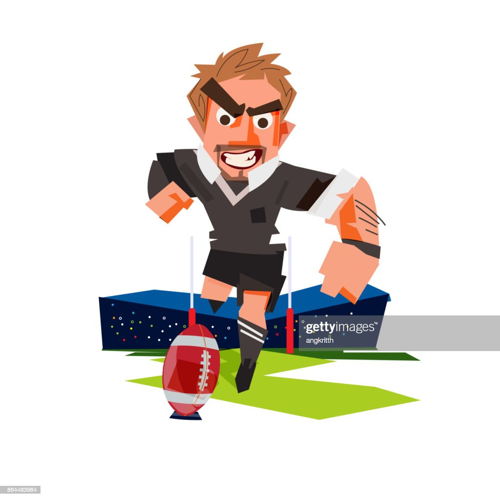 Rugby player kicking a rugby ball - vector illustration
