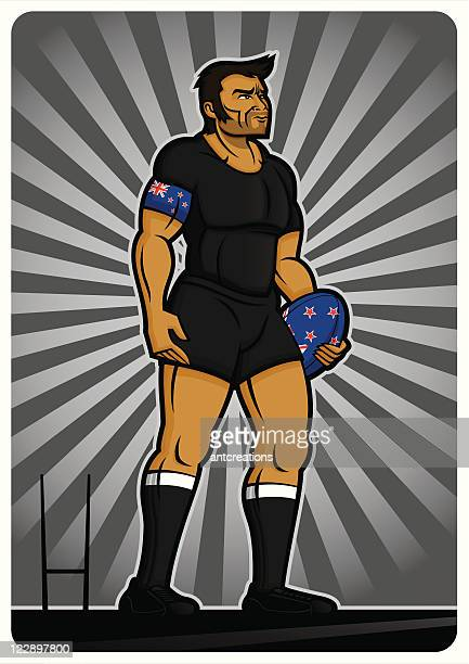 rugby player new zealand - rugby shirt stock illustrations, clip art, cartoons, & icons