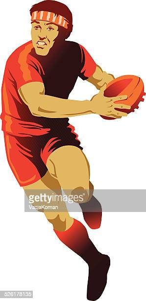 Rugby Player Running about to Pass the Ball