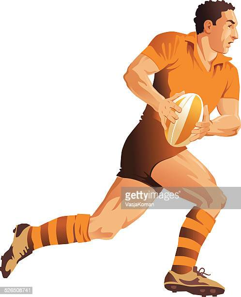 rugby player running with ball going for try - rugby league stock illustrations