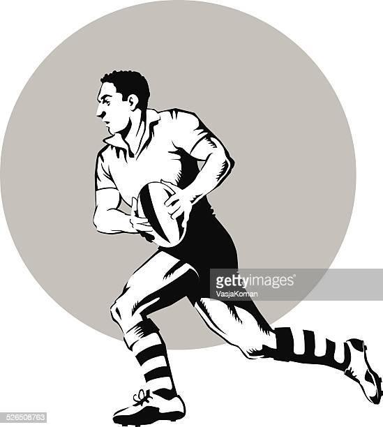 ラグビー選手ランニング、ボール、ブラックとホワイト - ラグビートーナメント点のイラスト素材/クリップアート素材/マンガ素材/アイコン素材