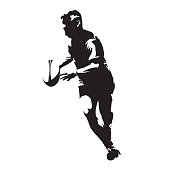 Rugby player running with ball in his hands, abstract vector silhouette