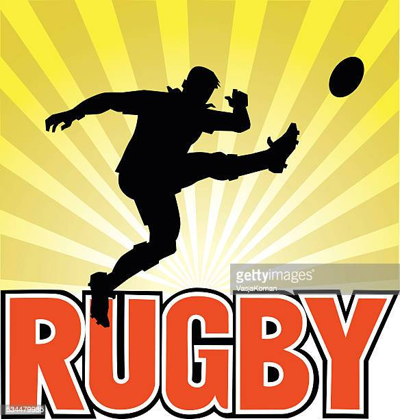 rugby player silhouette kicking the ball - rugby ball stock illustrations, clip art, cartoons, & icons