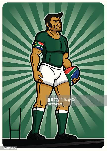 rugby player south africa - rugby shirt stock illustrations, clip art, cartoons, & icons