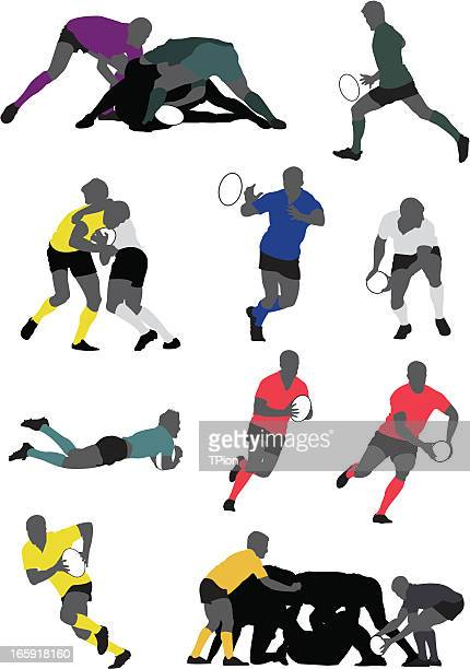rugby player - passing sport stock illustrations