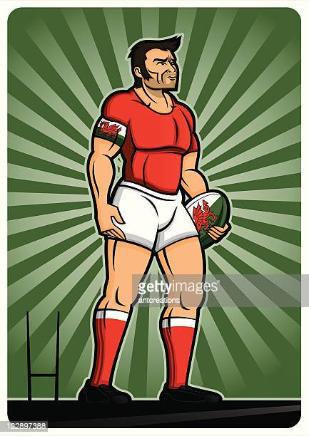 rugby player wales - rugby shirt stock illustrations, clip art, cartoons, & icons