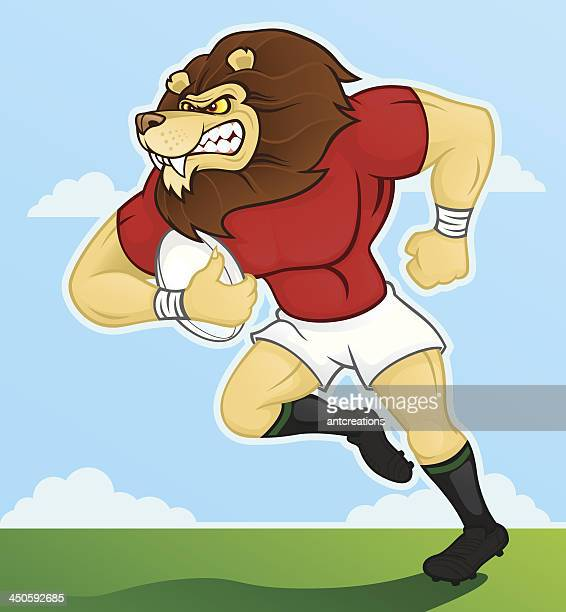 rugby playing lion - rugby shirt stock illustrations, clip art, cartoons, & icons