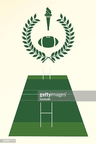 rugby poster and emblem - sport torch stock illustrations, clip art, cartoons, & icons