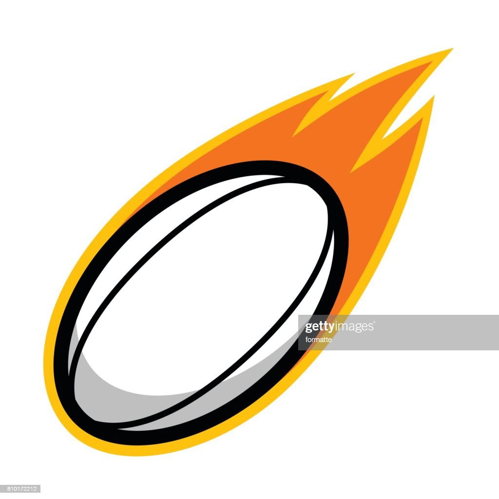 Rugby sport football leather comet fire tail flying icon