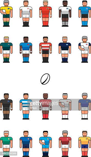 rugby team icons - rugby ball stock illustrations, clip art, cartoons, & icons