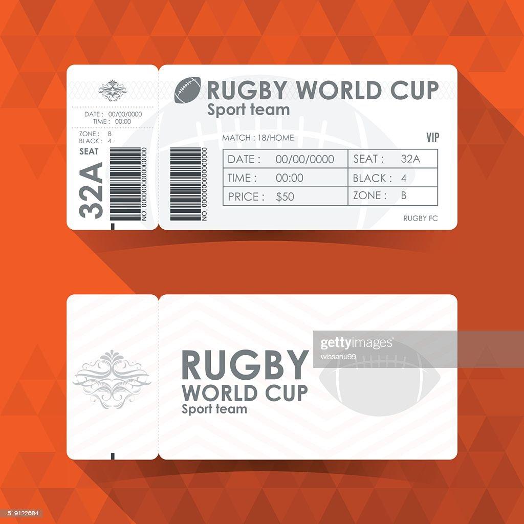 Rugby Ticket Card design, Vector illustration.