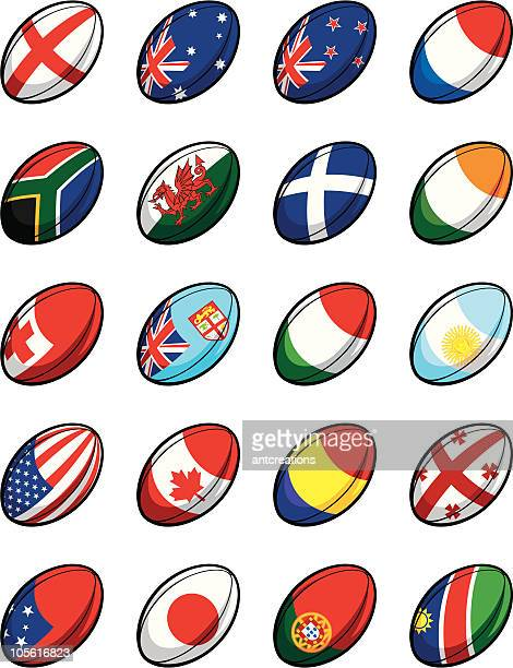 rugby world cup 2007 team balls - rugby ball stock illustrations, clip art, cartoons, & icons