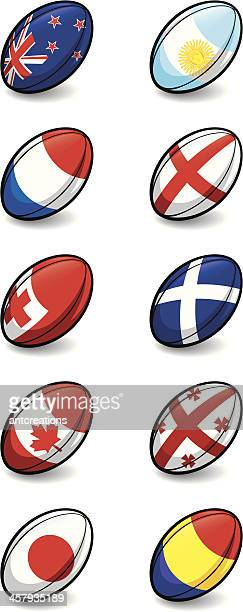 rugby world cup 2011 team balls pool a and b - rugby ball stock illustrations, clip art, cartoons, & icons