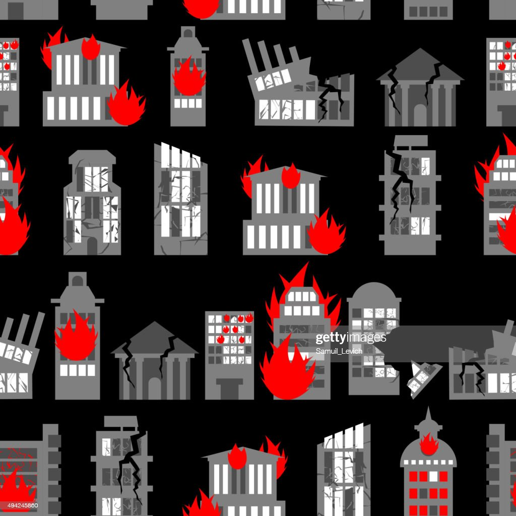 Ruined city seamless pattern. Ruins of buildings. Fire in homes.