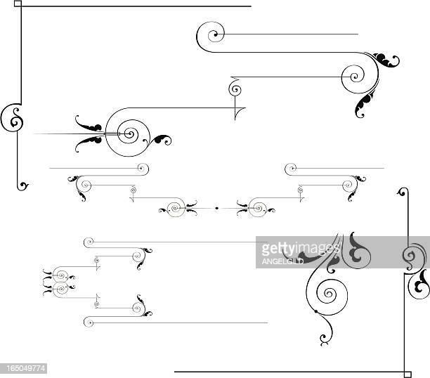rulelines and scrolls - art deco stock illustrations
