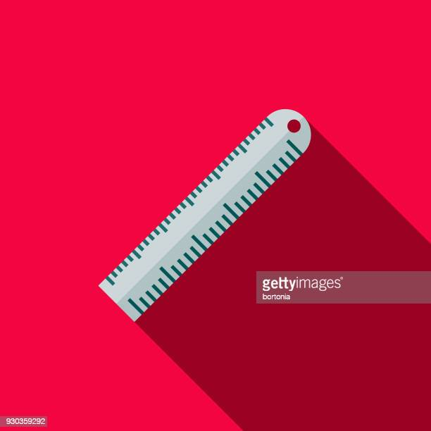 ruler flat design school supplies icon with side shadow - inch stock illustrations