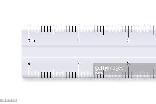 ruler on white background - graduated in inches - letrac stock illustrations