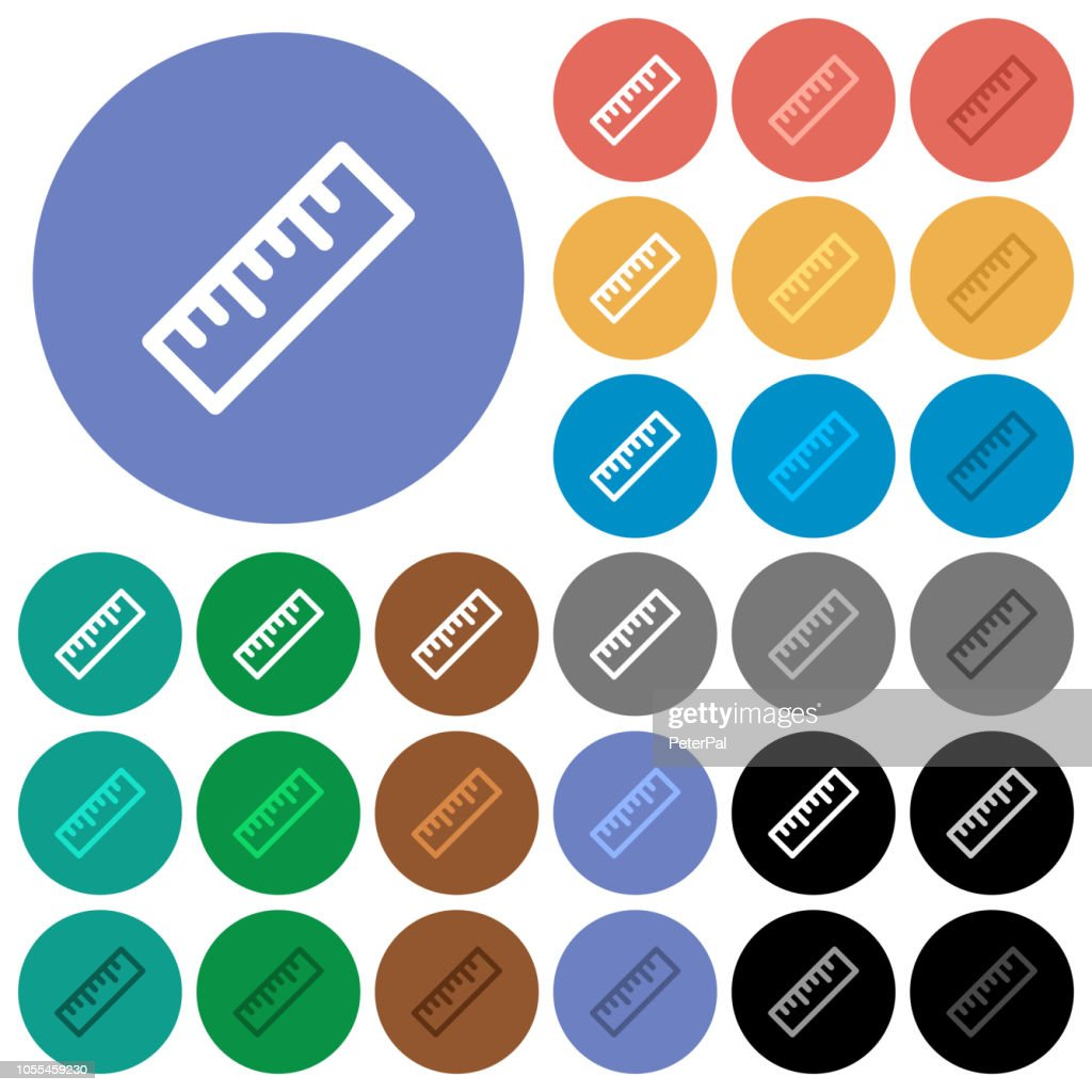 Ruler round flat multi colored icons