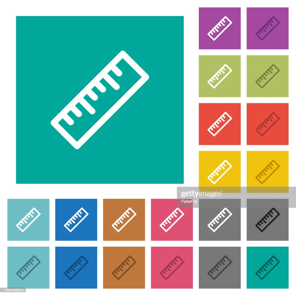 Ruler square flat multi colored icons