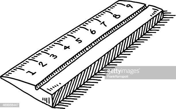 ruler symbol drawing - letrac stock illustrations