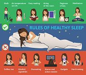 Rules of healthy Sleep. Vector Infographics Illustration. Cute Girl sleeping on the Bed. Useful tips for a good night's sleep.